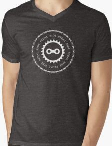 Ride & Pedal with White Text Mens V-Neck T-Shirt