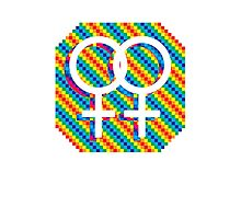 Gay Female symbol - White only Photographic Print