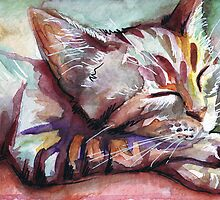 Sleeping Kitten Watercolor Painting by OlechkaDesign