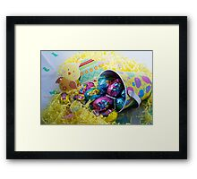 EASTER EGGS IN A BASKET WITH CHICKEN Framed Print