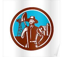 Organic Farmer Shovel Windmill Woodcut Retro Poster