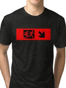 Accessible Means of Egress Icon and Running Man Emergency Exit Sign, Right Hand Diagonally Down Arrow Tri-blend T-Shirt