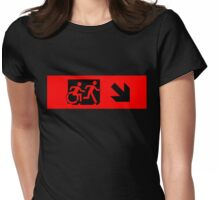 Accessible Means of Egress Icon and Running Man Emergency Exit Sign, Right Hand Diagonally Down Arrow Womens Fitted T-Shirt
