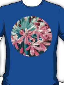 Sunny Agapanthus Flower in Pink & Teal T-Shirt