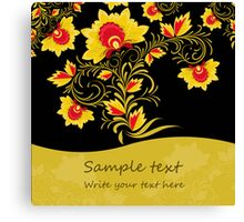 Ornamental khokhloma floral postcard with seamless stripe Canvas Print