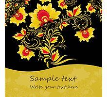 Ornamental khokhloma floral postcard with seamless stripe Photographic Print
