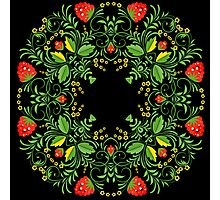 Сircle lace pattern in the traditional Russian hohloma style Photographic Print