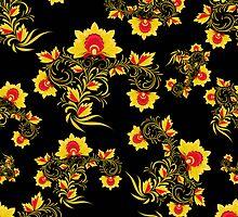Vector illustration of seamless pattern Khokhloma by lilileka