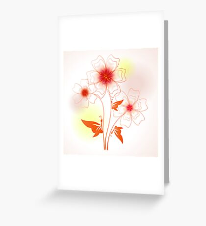 Funny colorful illustration with abstract flowers and butterfly Greeting Card