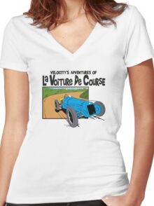 1927 Delage Tintin Women's Fitted V-Neck T-Shirt