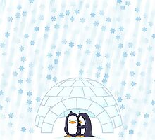 Penguins In Igloo While Snowing Art by Lottle