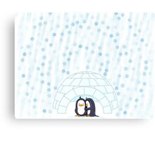 Penguins In Igloo While Snowing Art Canvas Print