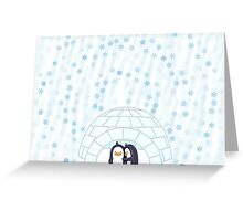 Penguins In Igloo While Snowing Art Greeting Card