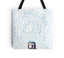 Penguins In Igloo While Snowing Art Tote Bag