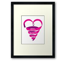 Happy mothers day, pink heart ribbon Framed Print