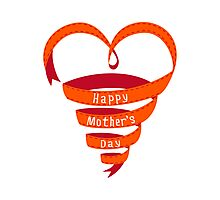 Happy mothers day, red heart ribbon Photographic Print