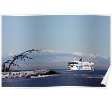 February Snow Strait of Georgia Poster