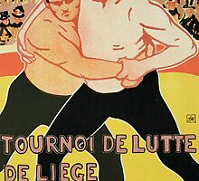 Reproduction of a poster advertising a wrestling tournament by Bridgeman Art Library