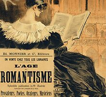 Reproduction of a poster advertising a book entitled The Romantic Age by Bridgeman Art Library