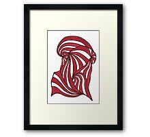 Red Retro Stripes Framed Print