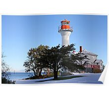 Mayne Island Lighthouse after snow storm Poster