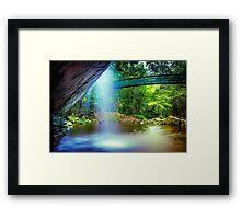 Behind the Falls.... Framed Print