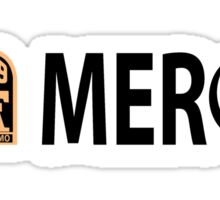 no mercy with white drop shadow for dark colors Sticker
