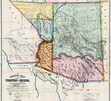 MAP of ARIZONA TERRITORIES  1865 by Daniel-Hagerman