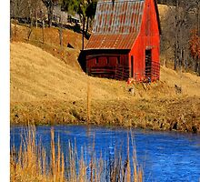 Country Red Barn, and Cobalt Blue Water Phone Case by NatureGreeting Cards ©ccwri