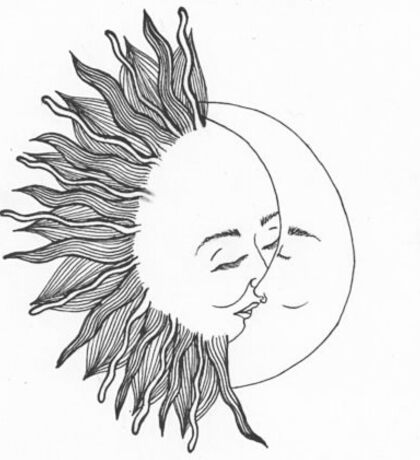 Sun kissing the moon Sticker