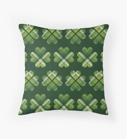 Irish Shamrocks All Over Throw Pillow