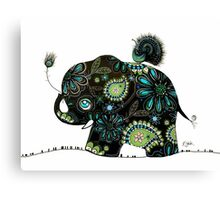 The Elephant and the Peacock Canvas Print
