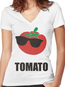 Cool Tomato Women's Fitted V-Neck T-Shirt