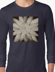 Black and White Waterlily   Long Sleeve T-Shirt