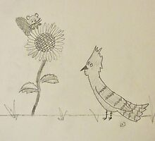 Blue Jay and Baby Squirrel by a Sunflower by fandoms-fineart