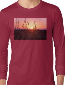 Grass Silhouette with a beautiful sunset Long Sleeve T-Shirt
