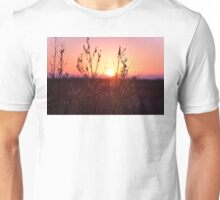 Grass Silhouette with a beautiful sunset Unisex T-Shirt