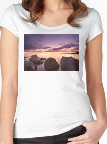 Sea at sunset with some motion blur water Women's Fitted Scoop T-Shirt