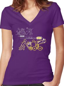 We Reject Your Cannon (Yellow Version) Women's Fitted V-Neck T-Shirt