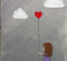 Girl holding a heart balloon by BeckaJane