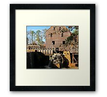 Starting the wheel at Yates Mill Framed Print