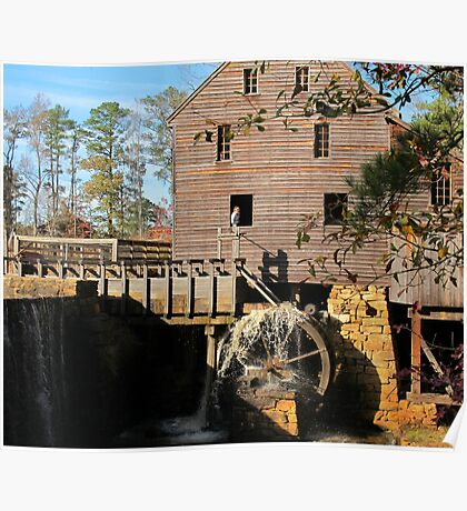 Starting the wheel at Yates Mill Poster