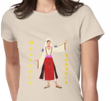 A  Muntenia Romanian Female Old Fashioned Peasant Costume T-shirt Womens Fitted T-Shirt