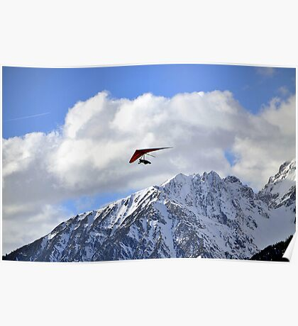Hang glider just after launch Poster