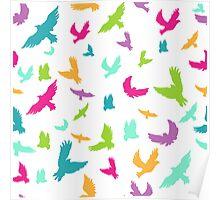 Vector illustration of Birds in seamless pattern Poster