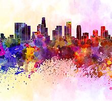 Los Angeles skyline in watercolor background by paulrommer