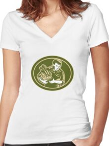 Organic Farmer Crop Harvest Woodcut Women's Fitted V-Neck T-Shirt