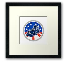 American Mechanical Digger Excavator Circle Framed Print