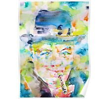 WINSTON CHURCHILL smoking - watercolor portrait Poster