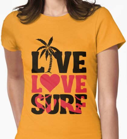 Live Love Surf Womens Fitted T-Shirt